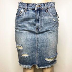 GAP Denim Distressed Raw Hem Skirt NWT
